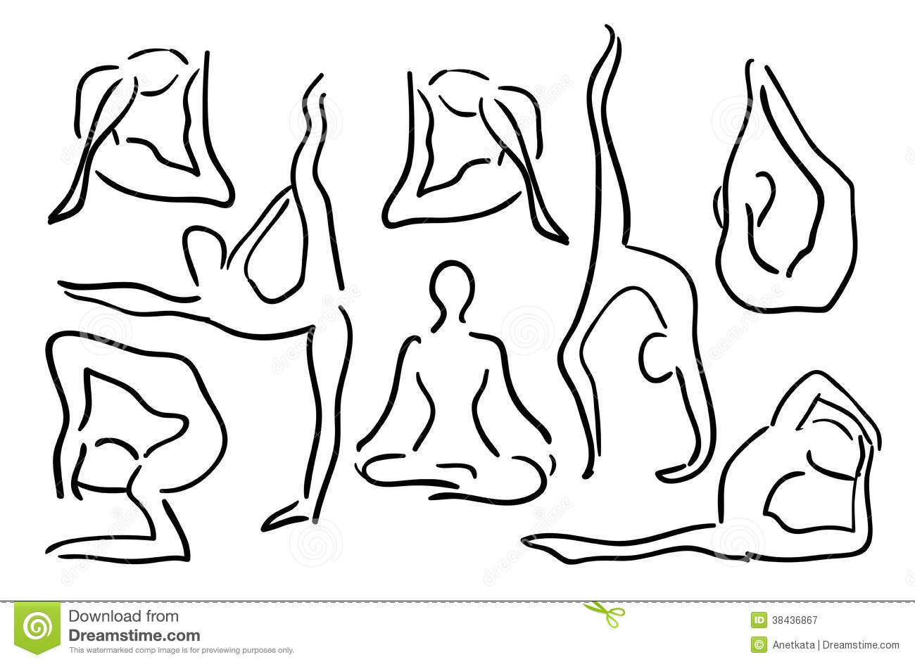 stylized-sketch-yoga-poses-vector-illustration-38436867